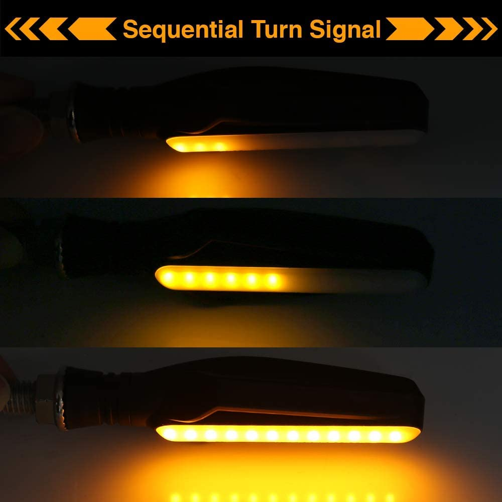 2pc Universal Motorcycle Bike 24-LED Red-Amber Turn Signal Sequential Indicator Light with Strobe Red Brake Lamp
