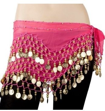 AIRLUT Hot pink Chiffon Dangling Gold Coins Hip Scarf for Belly Dancing