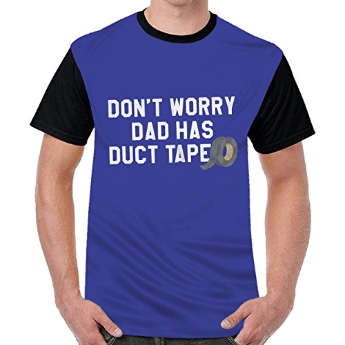 Aabigale Don't Worry Dad Has Duct Tape Mens Casual O-Neck t Shirts Top Blouse Shirt Blue