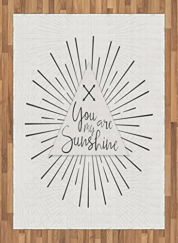 quote area rug by ambesonne  minimalist monochromatic tribal boho style rays lines and interlace