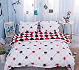Fun Poker Duvet Cover Set, Red And Black Mosaic Lattice Pattern, 1 Flat Sheet 1 Duvet Cover and 2 Pillow Cases