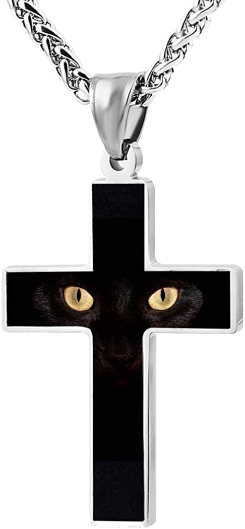 Zinc Alloy Black Cross Pendant Chain Necklace Simple Jewelry Gifts 24 Inches Chain Kicher Black Cat Cross Necklace for Men Women