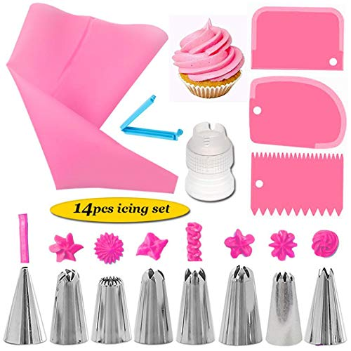 MelysUS 8 PCS/Set Silicone Icing Piping Cream Pastry Bag + 6 Stainless Steel Nozzle Set DIY Cake Decorating Tips Bakeware Utensil for Cook Decorating & Pastry Bags (14PCS-Pink)