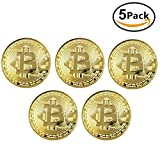 Top-Spring 5Pcs Bit Coin Gold/Silver/Copper Plating Bitcoin Virtual Currency Coin Collectibles Gift BTC Coin Art Collection Physical (Gold)