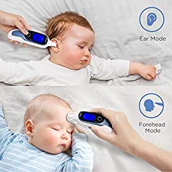 Digital Infrared Temporal Thermometer for Fever, Forehead and Ear Thermometer with Fever Alarm, Accurate and Fast Readings, Ideal for Babies, Infants, Kids, and Adults