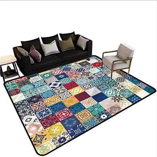 - Patchwork,Office Chair Floor Mat Foot Pad 48