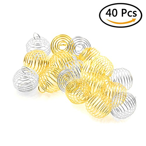 Yiphates 40 Pcs Spiral Bead Cages Pendants for Jewelry Making, Decoration Silver,Gold (25mm, 30mm) -