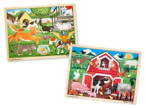 - Melissa & Doug Animals Wooden Jigsaw Puzzle Sets - Pets and Farm (24 pcs each)