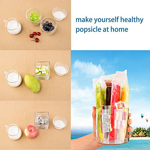 200 Pcs Reusable Drink Pouches with Double Zipper for Smoothie - Long Plastic Straws and Popsicle Mold Bags and 1 Silicone Funnel | Juice & Food Disposable Container | Non-Toxic, Phthalate & BPA Free by Jungli Bags (Image #6)