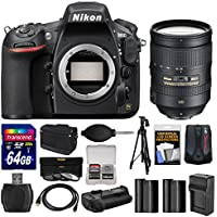 Nikon D810 Digital SLR Camera Body with 28-300mm VR Lens + 64GB Card + Case + Batteries & Charger + Grip + Tripod Kit