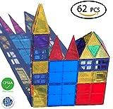 Toys : Magnetic Tiles set 62 pc 3D Magnet Building Blocks set Magnetic construction Toys Plates for Kids by DreambuilderToy (62 Magnetic Tiles)