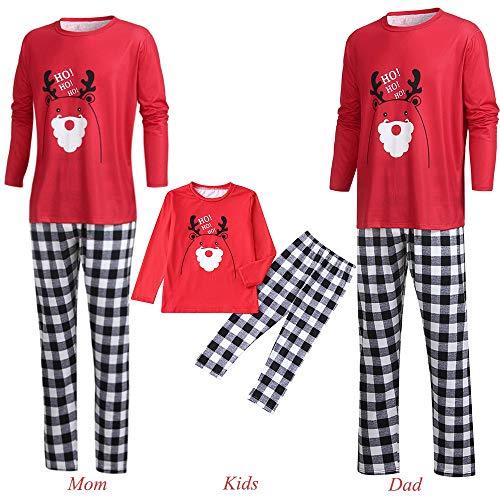 (Men Women Kids Baby Family PJS Matching Christmas Pajamas Set Cartoon Letter Deer Top+Plaid Pants (XXL, Man))
