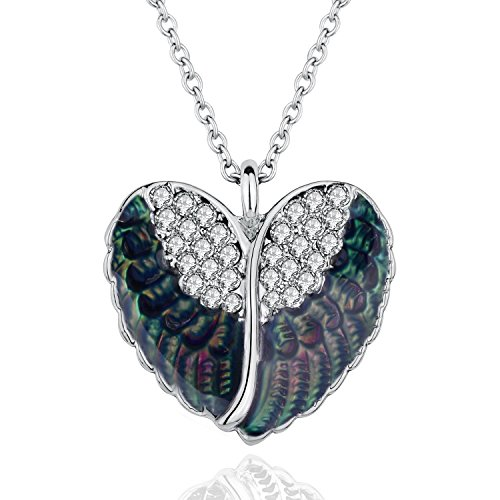 luomart Angel Wing Mood Necklace Magic Heart Color Changing White Gold Plated Austrian Crystal Pendant