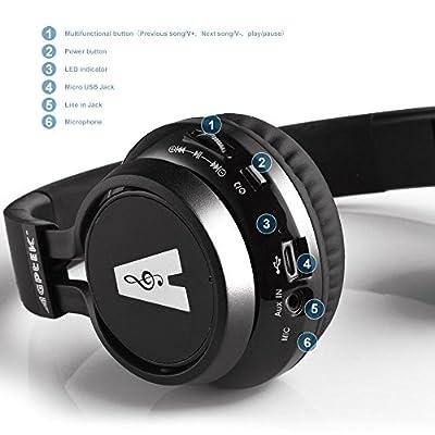 AGPtEK NC-HA0079 Foldable Bluetooth Wireless Noise Cancelling Over Ear Headphones For Smartphone, Tablet, PC, Mac, Laptop