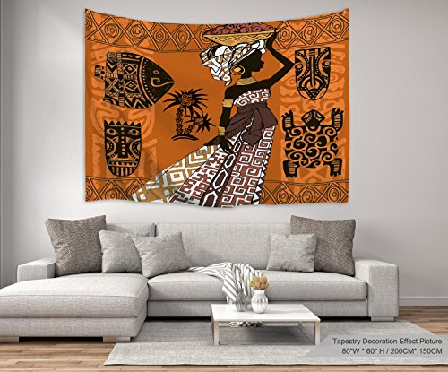 """XINYI Home Wall Hanging Nature Art Polyester Fabric African Woman Theme Tapestry, Wall Decor For Dorm Room, Bedroom, Living Room, Nail Included - 90""""W x 71""""L (230cmx180cm) - Black Woman And Animals"""