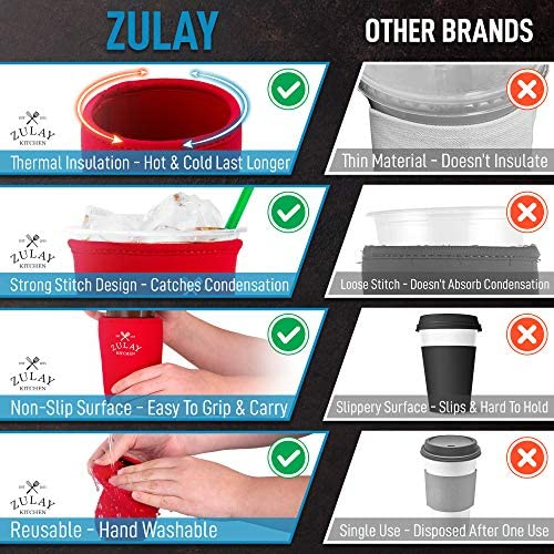 Zulay (22oz to 24oz) Reusable Iced Coffee Sleeve - Medium Sized Neoprene Insulator Coffee Sleeves - Flexible Ice Coffee Sleeve For Starbucks, McDonalds, Dunkin Donuts, & More (Red)