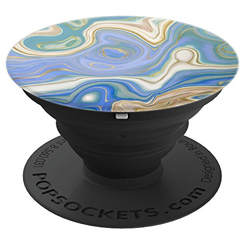 Agate Stone Marble Design Blue Cream Gold Copper Gift - PopSockets Grip and Stand for Phones and Tablets ()