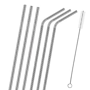 Zicome Set of 6 Stainless Steel Reusable Drinking Straws and Cleaning Brush Set