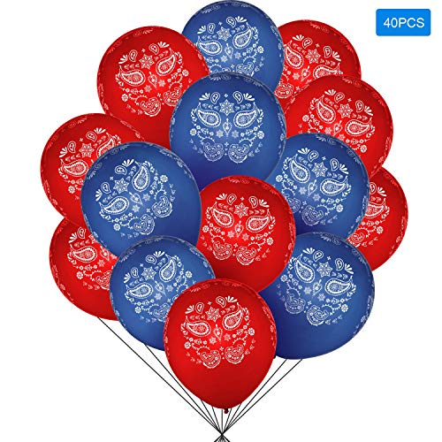 40 Pieces Bandana Assortment (Cowboy or Western) Latex Balloons - Large 12 Inch Latex Balloon for Birthday, Wedding and Western-themed Party Decorations ()
