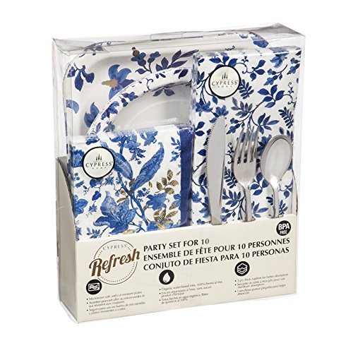 (Cypress Home Blue Floral Toil Party for Ten, 85 Piece Paper Dining)