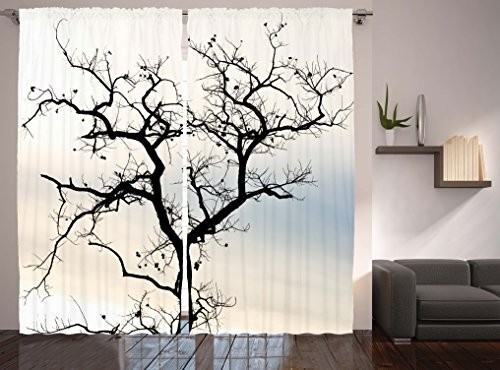 Black And White Curtains Abstract Art Decorations By Ambesonne, Falling  Leaves Of A Lonely Tree In Woodland Theme, Window Drapes 2 Panel Set For Living  Room ...