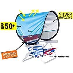 Shadeez Oasis Portable, attachable, pop up sunshade, canopy, sun shelter. Attaches to most chairs.(Light Blue)