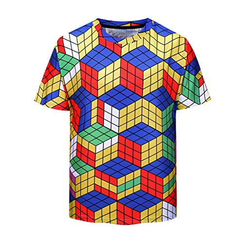 OrchidAmor 2019 Men's Summer Casual Comfy T-Shirt Geometry Printing Sport Breathable Top Blouse