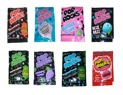 Pop Rocks Mix (Strawberry, cherry, tropical, watermelon, raspberry, bubble gum, cotton candy, Grape) (10.5g) 16 (Pop Rock Candy)