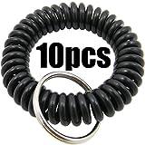Shells 10PCS Black Soft Highly Spring Spiral Coil Wrist Band Key Ring Chain