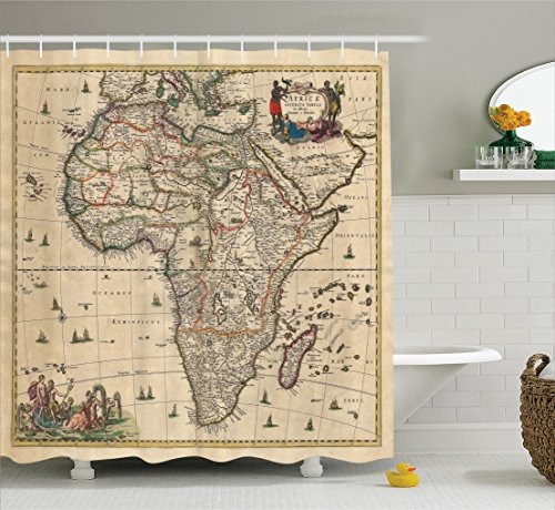 Africa Collection - Ambesonne Antique Decor Collection, Old Map of Africa Continent Ancient Historic Borders Rustic Manuscript Geography Image, Polyester Fabric Bathroom Shower Curtain Set with Hooks, Ivory