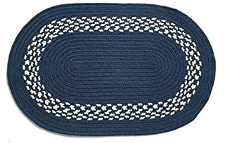 product image for Oval Braided Rug (5'x7'): Navy,- Navy & Cream Band