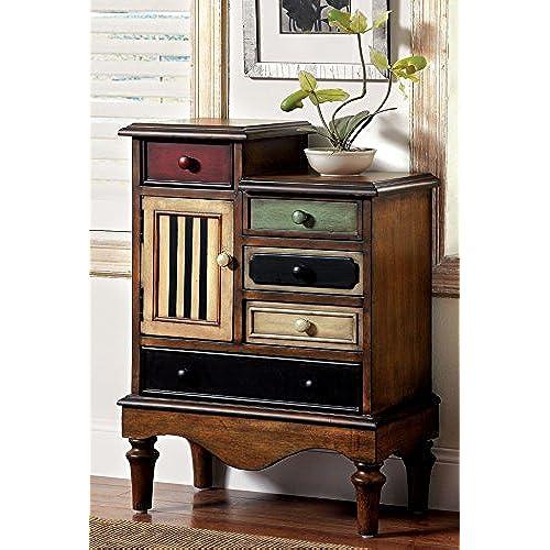 Furniture of America Circo Vintage Style Storage Chest, Antique Walnut - Vintage Filing Cabinet: Amazon.com