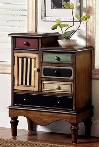 Furniture of America Circo Vintage Style Storage Chest, Antique Walnut (Colored Multi Accent)