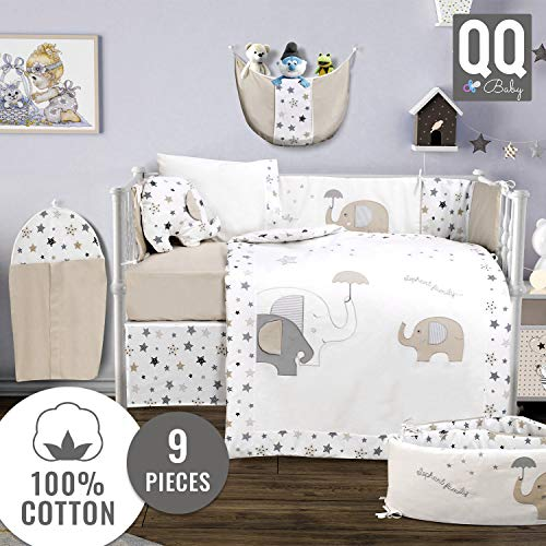 Baby Crib Bedding Set – 100% Turkish Cotton – 9 Piece Nursery Crib Bedding Sets for Boys & Girls – Elephant Design – 4 Color Variations by QQ Baby (Beige)