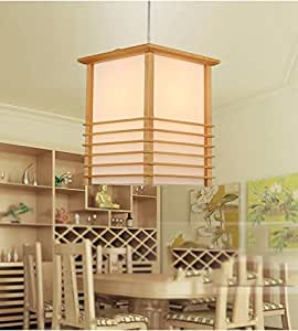 XHOPOS HOME Pendant Light Shade Industrial Hanging Ceiling Lamp Chandelier Wood tatami Japanese White Light 22X22x30cm For Living Room Restaurant Bedroom Lighting