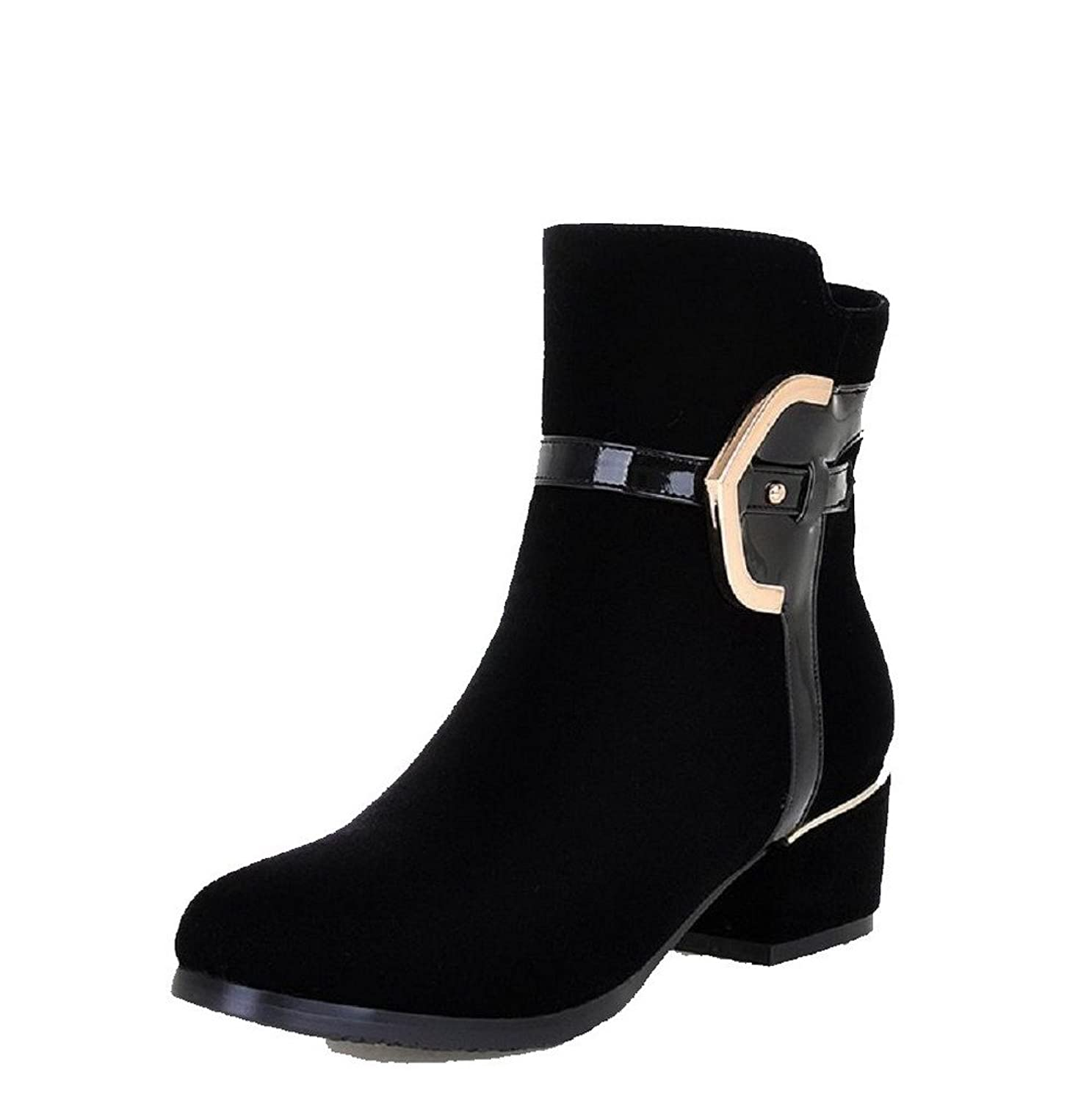 MayMeenth Women's Round Closed Toe Kitten-Heels Frosted Low-top Solid Boots