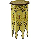 Moroccan Handmade Wood Table Side Tall Delicate Hand Painted Black Exquisite Beige