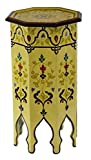 Cheap Moroccan Handmade Wood Table Side Tall Delicate Hand Painted Exquisite Yellow