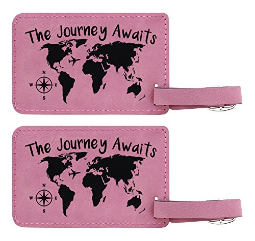 - Travel Gifts The Journey Awaits Map Luggage Tag 2-pack Laser Engraved Leather Luggage Tags Pink