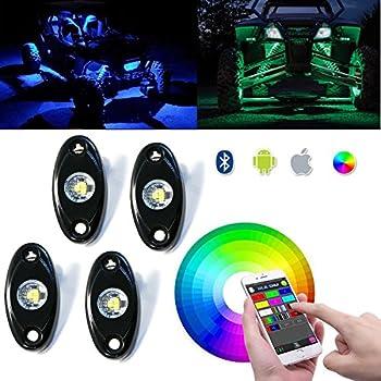 Ohmotor RGB LED Rock Light Kits Cell Phone APP Bluetooth Control 4 Pods Multi-  sc 1 st  Amazon.com & Amazon.com: LEDGlow 4pc. Multi-Color LED Car Interior Underdash ... azcodes.com