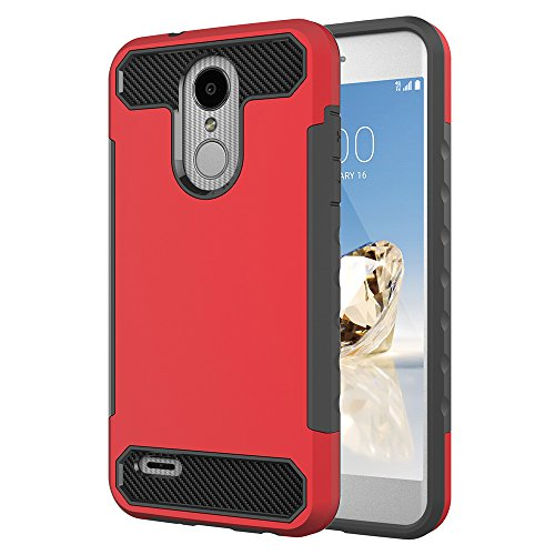 LG Tribute Dynasty/LG Aristo 2/K8 2018 Case, Asstar Hybrid Rugged Dual Layer Defender Heavy Duty Shock Absorption Shockproof Full Body Protective Case Cover for LG K8 2018 (Red+Black)