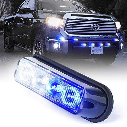 Xprite White & Blue 4 LED 4 Watt Emergency Vehicle Waterproof Surface Mount Deck Dash Grille Strobe Light Warning Police Light Head with Clear Lens
