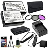 TWO LP-E10 Lithium Ion Replacement Batteries w/Charger + 3 Piece Filter Kit + Memory Card Reader/Wallet + Deluxe Starter Kit for Canon EOS Rebel T3 Digital SLR Camera DavisMAX Bundle