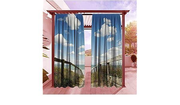 AndyTours - Cortinas opacas con aislamiento térmico, colección de decoración de piscinas en la isla tropical de Maldivas con sillas Bungalows, palmeras, árboles, piscina, barra de fotos, paneles de cortina, color azul,