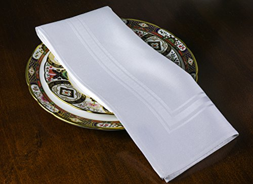 Thomas Ferguson Imperial White Linen Double Damask Napkins (Set of 6) 22'' (56cm) Square Luxury Box by Thomas Ferguson Irish Linen