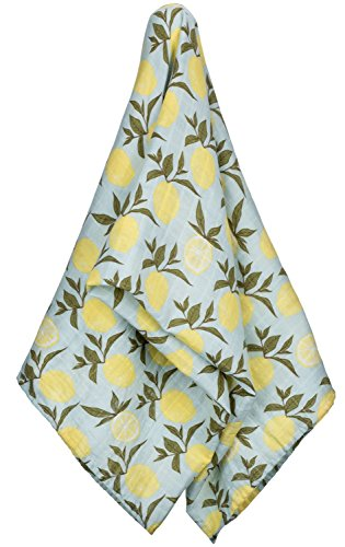 Milkbarn Organic Muslin Swaddle Blanket (Blue Lemon)