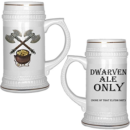 Dungeons and Dragons Beer Stein 22 oz. Dwarven ALE Only Ceramic Beer Mug with Gold Trim ()