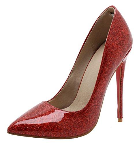 YE Damen High Heels Spitze Lackleder Stilettos Pumps Party Schuhe