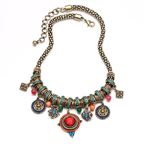 Flower And Bead Necklace (Colorful Beads Hollow Flower Blue Alloy Circinal Square Pendant Short Clavicle Necklace )