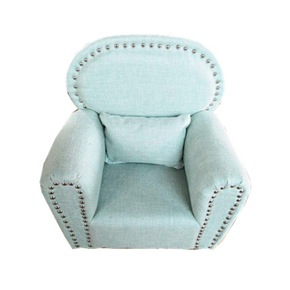 Dvotinst Newborn Photography Props, Soft Posing Mini Sofa Poser Arm Chair for Baby Photo Shooting, Studio Accessories Props 0-12M (Light Blue)